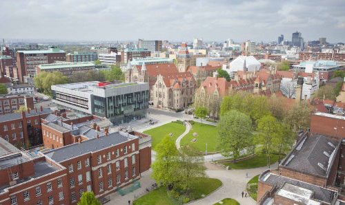 Aerial view 大学的 campus, showing Gilbert square, the Learning Commons beside grand old buildings. 曼彻斯特 skyline in the background.