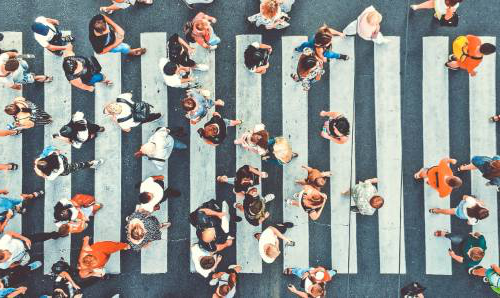 Groups on people on a busy street