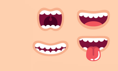 Illustration of smiling mouths