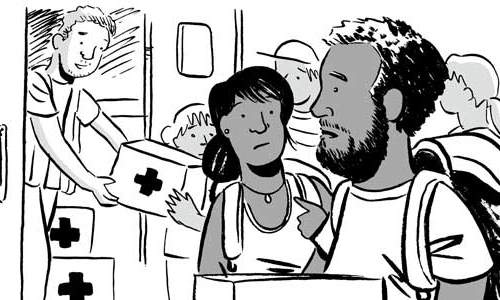 Panels from graphic novella, After Maria: Everyday Recovery from Disaster
