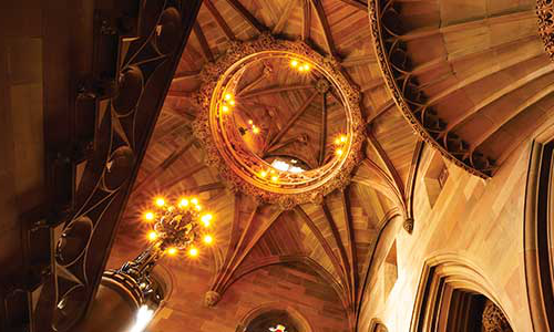 The vaulted ceiling of The John Rylands Library