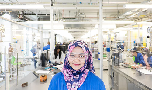 Portrait of student in lab